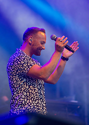 Graeme Clark, Tommy Cunningham, Neil Mitchell and their new singer, former Liberty X singer Kevin Simm. Wet Wet Wet play the main stage. Party at the Palace 2019.