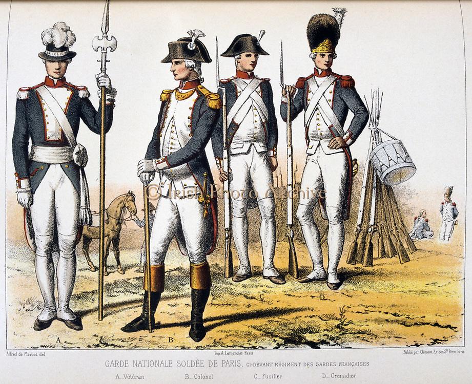 Paris members of the National Guard.   'From Histoire des corps de troupes de la ville de Paris' by Francois Cudet, Paris, 1897. Chromolithograph.