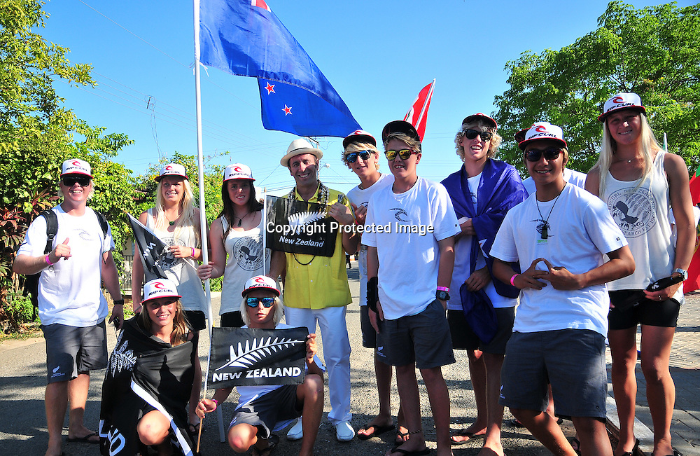 New Zealand at Opening Ceremony - ISA World Junior Surfing Championships, Playa Venao, Panama, 14-22 April 2012