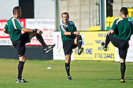 Picture by Ian Wadkins/Focus Images Ltd +44 7877 568959<br /> 25/07/2013<br /> Match officials warm up ahead of the second leg of the UEFA Europa League round two qualifying match at Belle Vue Stadium, Rhyl.