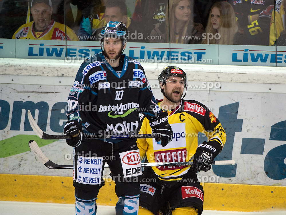 31.03.2015, Keine Sorgen Eisarena, Linz, AUT, EBEL, EHC Black Wings Linz vs UPC Vienna Capitals, Halbfinale, 5. Spiel, im Bild v.l. Marc-Andre Dorion (EHC Liwest Black Wings Linz) Jonathan Ferland (UPC Vienna Capitals) // during the Erste Bank Icehockey League 5th semifinal match between EHC Black Wings Linz and UPC Vienna Capitals at the Keine Sorgen Eisarena in Linz, Austria on 2015/03/31. EXPA Pictures © 2015, PhotoCredit: EXPA/ Reinhard Eisenbauer