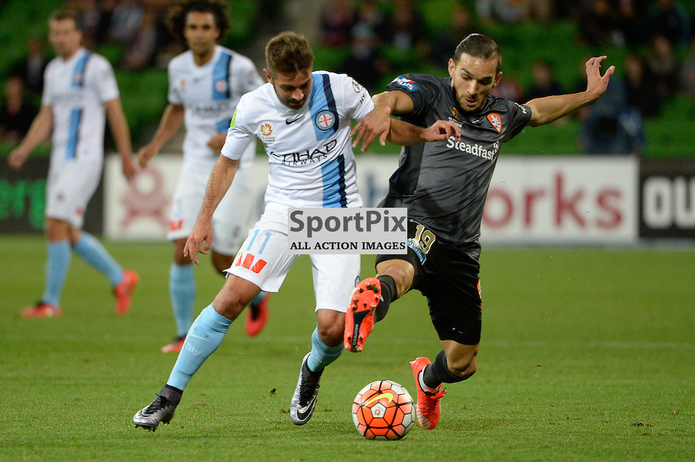 Michael Zullo of Melbourne City, Jack Hingert of Brisbane Roar FC - Hyundai A-League, March 18th 2016, ROUND 24 - Melbourne City FC v Brisbane Roar FC in a 3:1 win to City after a slow first half at Aami Park, Melbourne Australia. © Mark Avellino | SportPix.org.uk