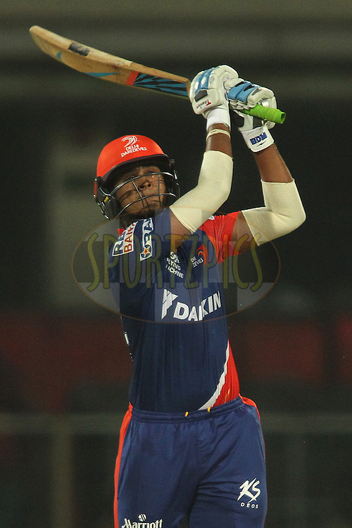 Shreyas Iyer of the Delhi Daredevils hits over the top for six during match 21 of the Pepsi IPL 2015 (Indian Premier League) between The Delhi Daredevils and The Mumbai Indians held at the Ferozeshah Kotla stadium in Delhi, India on the 23rd April 2015.<br /> <br /> Photo by:  Shaun Roy / SPORTZPICS / IPL