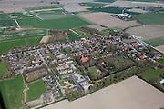 Nederland, Groningen, Gemeente Delfzijl, 01-05-2013; wierdedorp Bierum (wierde=terp). Romaansekerk, Sebastiaankerk, middeleeuwen.<br /> Village on dwelling Mound, north-east Holland.<br /> luchtfoto (toeslag op standard tarieven);<br /> aerial photo (additional fee required);<br /> copyright foto/photo Siebe Swart