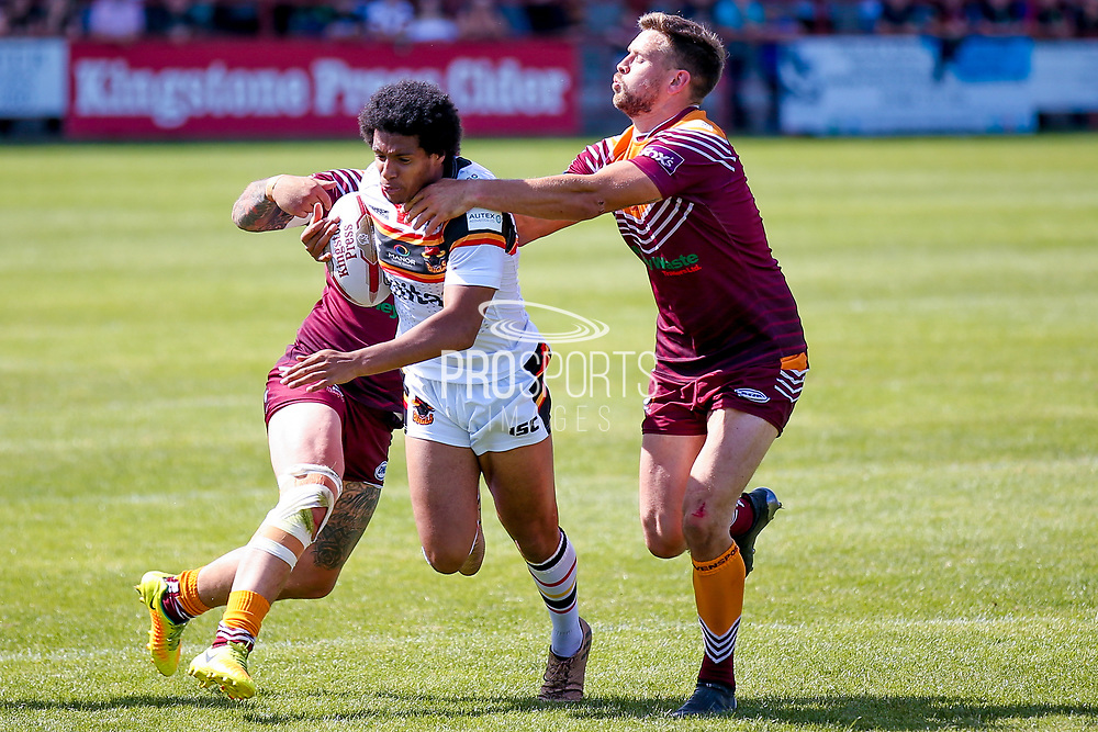 Bradford Bulls full back Oscar Thomas (14) is stopped  during the Kingstone Press Championship match between Batley Bulldogs and Bradford Bulls at the Fox's Biscuits Stadium, Batley, United Kingdom on 16 July 2017. Photo by Simon Davies.