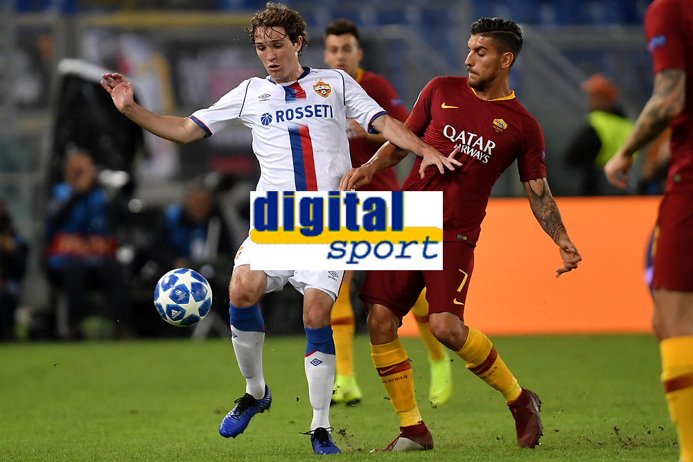 Mario Fernandes of Cska and Lorenzo Pellegrini of AS Roma compete for the ball during the Uefa Champions League 2018/2019 Group G football match between AS Roma and CSKA Moscow at Olimpico stadium Allianz Stadium, Rome, October, 23, 2018 <br />  Foto Andrea Staccioli / Insidefoto