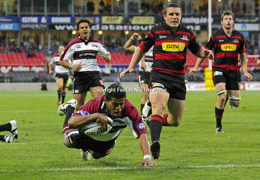 North Harbour wing Vili Waqaseduadua scores the winning try in the Ranfurly Shield match played at Jade Stadium in Christchurch on Sunday. North Harbour won the shield from Canterbury, beating them 21-17 for the first time in the history of the province, and after failing in 10 previous attempts.