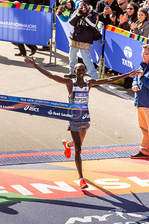 NYC Marathon, Wilson Kipsang, Kenya, wins the race and the consequently the World Marathon Majors championship, ensuring himself at least a $600,000 payday