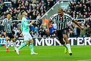 Jose Salomon Rondon (#9) of Newcastle United celebrates Newcastle United's first goal (1-0) during the Premier League match between Newcastle United and Bournemouth at St. James's Park, Newcastle, England on 10 November 2018.