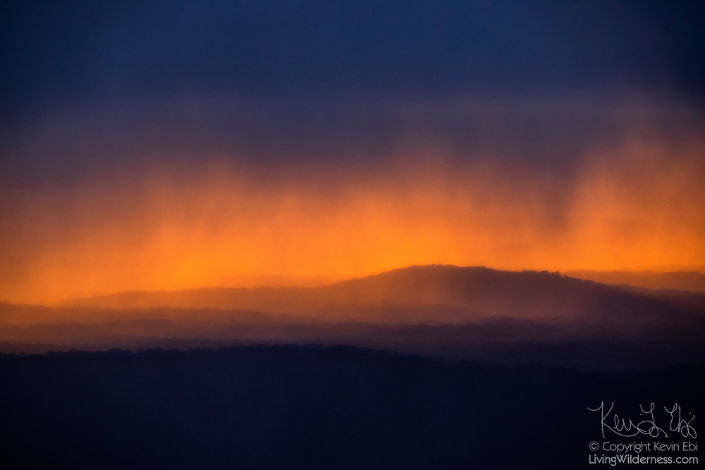 Heavy rain and hail streak across the golden sky over Hogwallow Flats at daybreak in Shenandoah National Park, Virginia.