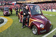 Nov 18, 2018; Landover, MD, USA; Former Washington Redskins quarterback Sonny Jurgensen is honored before the game between the Houston Texans and the Redskins at FedEx Field. The Texans beat the Redskins 23-21. (Steve Jacobson/Image of Sport)