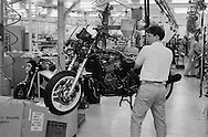 Triumph Trophy 900 motorcycle production line.