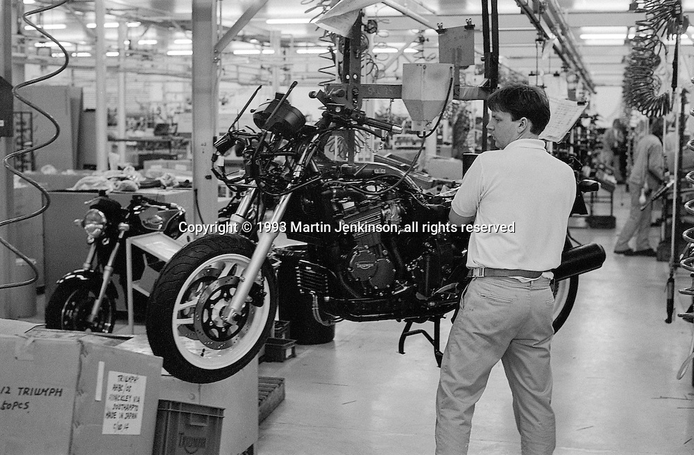 Triumph Trophy 900 motorcycle production line.