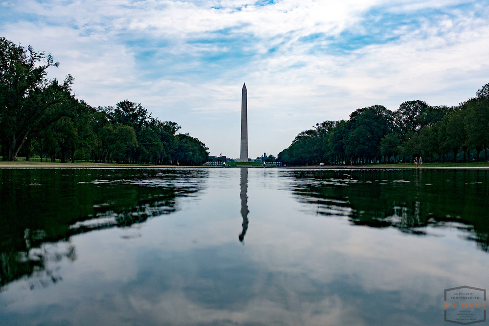 The Washington Monument reflected in the reflecting pool on the National Mall in Washington, D.C., Monday, Aug. 31, 2015. (AJ Mast )