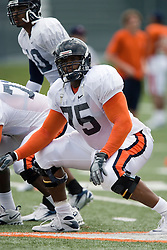 Virginia Cavaliers T Eugene Monroe (75)..The Virginia Cavaliers football team held their first open practice of the 2007 season on the practice fields next to the University of Virginia's McCue Center in Charlottesville, VA on August 10, 2007.