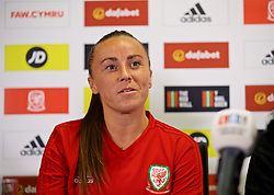 NEWPORT, WALES - Thursday, August 30, 2018: Wales' Natasha Harding during a press conference at Rodney Parade ahead of the final FIFA Women's World Cup 2019 Qualifying Round Group 1 match against England. (Pic by David Rawcliffe/Propaganda)