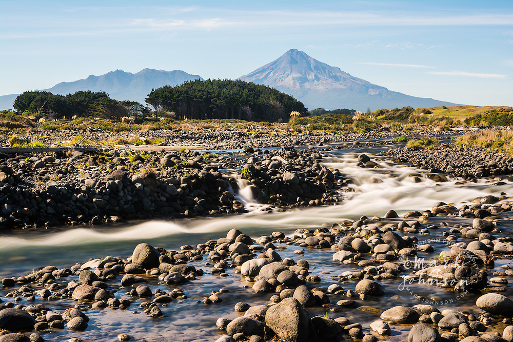 Stony River & Mt. Taranaki, Egmont National Park, North Island, New Zealand