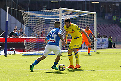 April 8, 2018 - Napoli, Napoli, Italy - Naples - Italy 08/04/2018.LORENZO INSIGNE of S.S.C. NAPOLI and TOMOVIC NENAD of CHIEVO VERONA  during SERIE A  match between S.S.C. NAPOLI and CHIEVO VERONA   at Stadio San Paolo of Naples. .Final scores S.S.C. NAPOLI -CHIEVO VERONA 2-1  (Credit Image: © Emanuele Sessa/Pacific Press via ZUMA Wire)