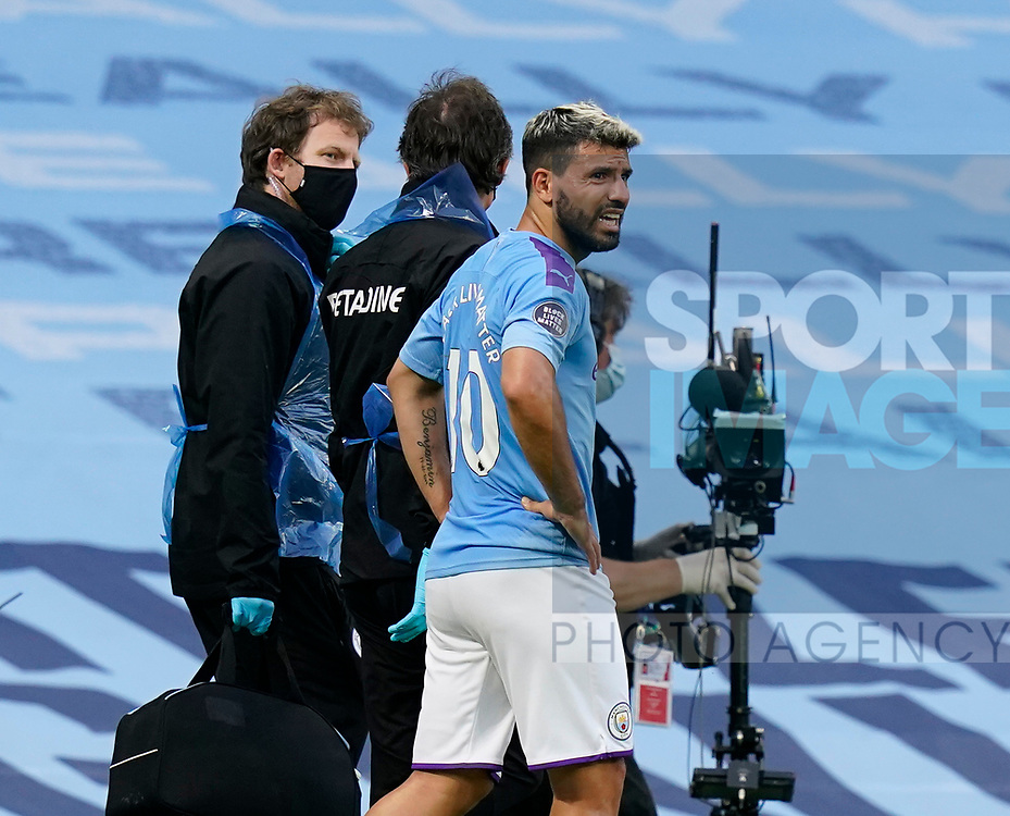 Sergio Aguero of Manchester City leaves the game injured during the Premier League match at the Etihad Stadium, Manchester. Picture date: 22nd February 2020. Picture credit should read: Andrew Yates/Sportimage