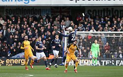 Aiden O'Brien of Millwall and Martin Montoya of Brighton and Hove Albion challenge for a header - Mandatory by-line: Arron Gent/JMP - 17/03/2019 - FOOTBALL - The Den - London, England - Millwall v Brighton and Hove Albion - Emirates FA Cup Quarter Final