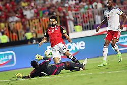 ALEXANDRIA, Oct. 9, 2017  Mohamed Salah (C) of Egypt scores during the 2018 FIFA World Cup qualification match between Egypt and Congo at the Borg El-Arab Stadium in Alexandria, Egypt, Oct. 8, 2017. Egypt won 2-1 and qualified to the World Cup finals. (Credit Image: © Ahmed Gomaa/Xinhua via ZUMA Wire)
