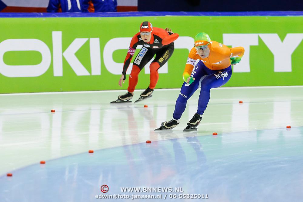 NLD/Heerenveen/20130112 - ISU Europees Kampioenschap Allround schaatsen 2013 dag 2, 3000 meter dames, Claudia Pechstein - Diana Valkenburg