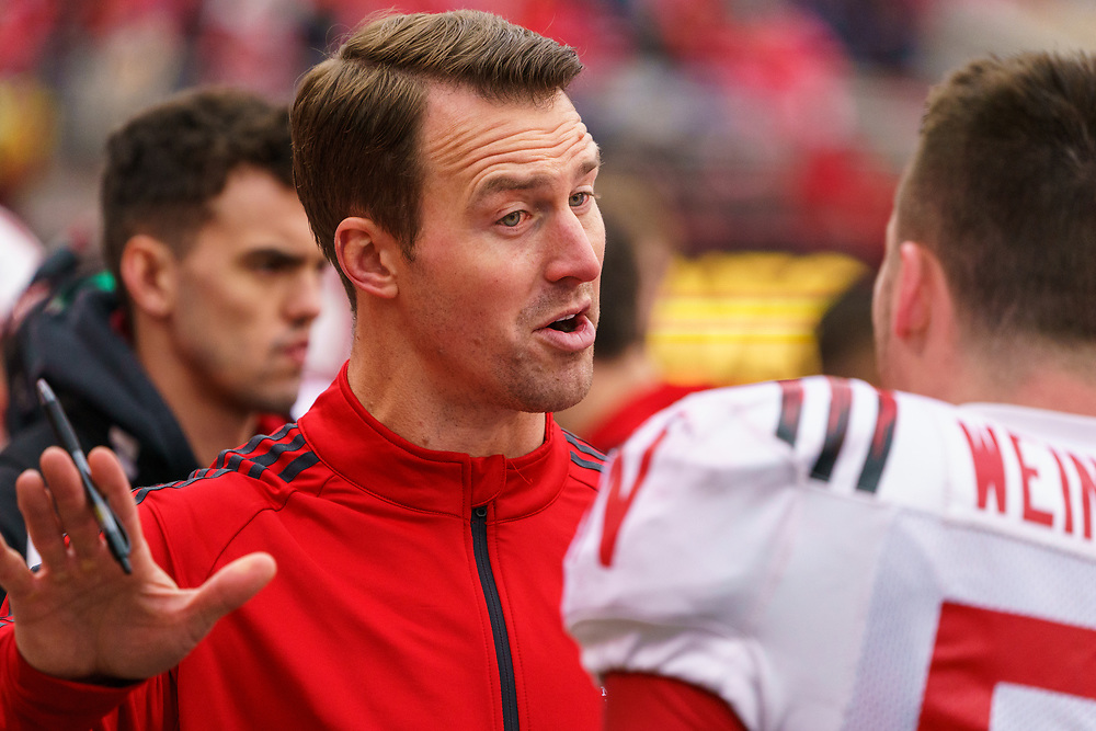Assistant Coach Barrett Ruud during Nebraska's annual Spring Game at Memorial Stadium in Lincoln, Neb., on April 21, 2018. © Aaron Babcock
