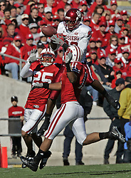 June 8, 2017 - (File Photo) - A body found in an Indiana river on Wednesday has been identified by the county's coroner as former Buffalo Bills receiver And IU football star James Hardy, 31, of Fort Wayne. PICTURED: Oct. 27, 2007 - Indiana wide receiver JAMES HARDY has the ball bounce off his hands as Wisconsin defensive back Shane Carter (25) Wisconsin linebacker Deandre Levy (11) cover on the play. Wisconsin defeated Indiana, 33-3, at Camp Randall Stadium in Madison, Wisconsin, Saturday, October 27, 2007.  (Credit Image: © Joe Koshollek/TNS/ZUMAPRESS.com)