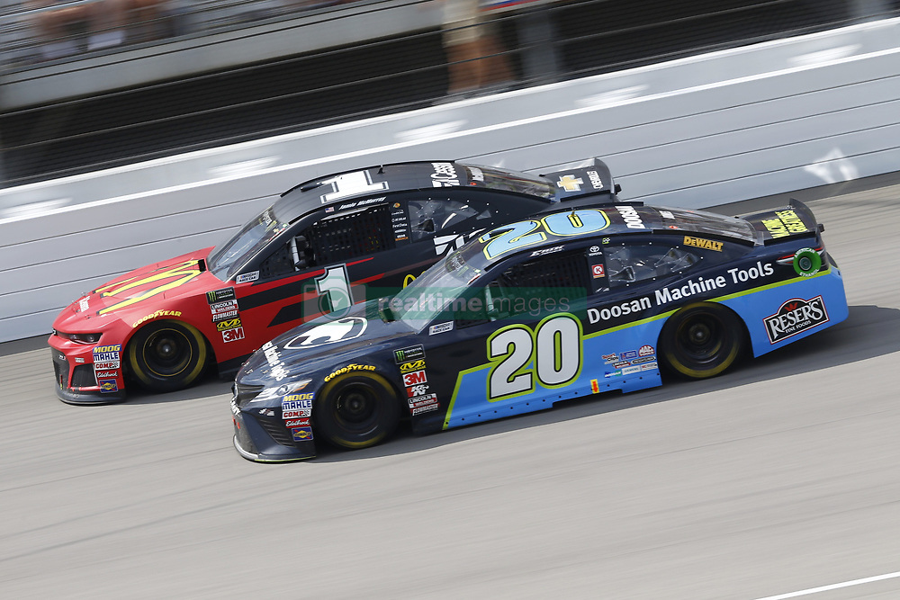 August 12, 2018 - Brooklyn, Michigan, United States of America - Jamie McMurray (1) and Erik Jones (20) battle for position during the Consumers Energy 400 at Michigan International Speedway in Brooklyn, Michigan. (Credit Image: © Chris Owens Asp Inc/ASP via ZUMA Wire)
