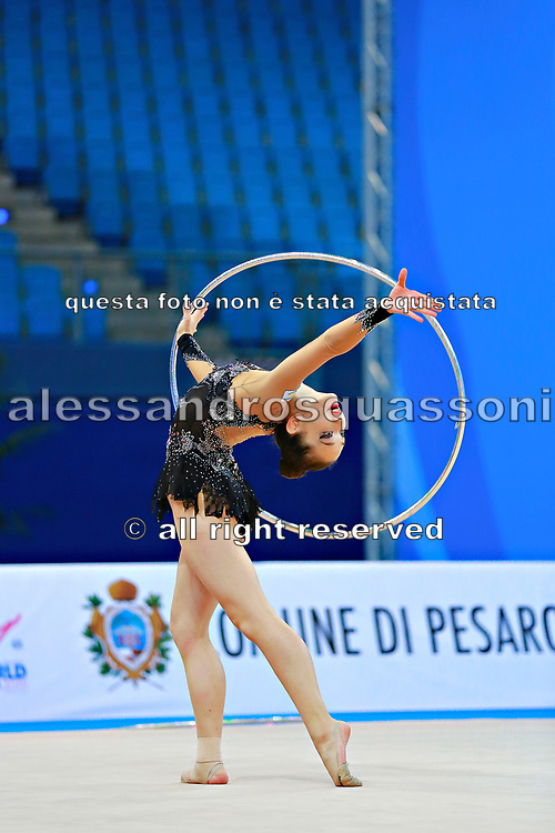 "Alexandrou Christina during hoop routine at the International Tournament of rhythmic gymnastics ""Città di Pesaro"", 02 April,2016. Alexandrou is an Cypriot individualistic gymnast, born in Nicosia, 27 February.<br />