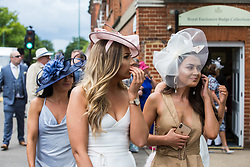 Ascot, UK. 20 June, 2019. Racegoers wearing fancy hats and fascinators attend Ladies Day at Royal Ascot.