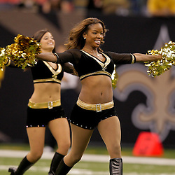 2009 September 03: Saintsations cheerleaders perform during a preseason game between the Miami Dolphins and the New Orleans Saints at the Louisiana Superdome in New Orleans, Louisiana.