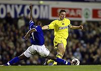 Photo. Aidan Ellis.<br />Everton v Charlton. <br />Carling Cup Round 3.<br />29/10/2003.<br />Charlton's Matt Holland and Everton's Alex Nyarko
