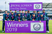 Picture by Allan McKenzie/SWpix.com - 19/05/2019 - Sport - Cricket - 5th Royal London One Day International - England v Pakistan - Emerald Headingley Cricket Ground, Leeds, England - England's Eoin Morgan holds the Royal London One Day trophy as England celebrate victory over Pakistan.