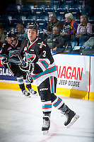 KELOWNA, CANADA - OCTOBER 9: Riley Stadel #3 of Kelowna Rockets warms up against the Victoria Royals on OCTOBER 9, 2015 at Prospera Place in Kelowna, British Columbia, Canada.  (Photo by Marissa Baecker/Getty Images)  *** Local Caption *** Riley Stadel;