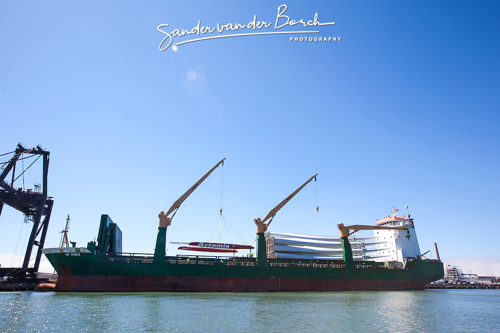 August 20st 2012, Off-loading the AC72 and the Orma from the cargo ship in San Francisco