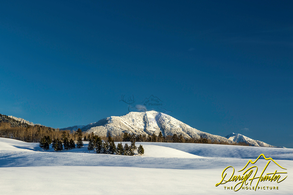 The rolling foothills of the Snake River Range host a wonderful undulating snowy landscape facilitating a wonderful play of light and shadow. Mount Baldy Crowns this landscape in Swan Valley Idaho.