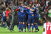Manchester United players celebrate winning the Europa League trophy during the Europa League Final between Ajax and Manchester United at Friends Arena, Solna, Stockholm, Sweden on 24 May 2017. Photo by Phil Duncan.