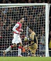 Photo: Olly Greenwood.<br />Arsenal v Charlton Athletic. The Barclays Premiership. 02/01/2007. Arsenal's Robin Van Persie celebrates scoreing a penalty past Charlton's Scott Carson