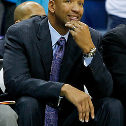 February 10, 2012; New Orleans, LA, USA; New Orleans Hornets head coach Monty Williams against the Portland Trail Blazers during the a game at the New Orleans Arena. The Trail Blazers defeated the Hornets 94-86. Mandatory Credit: Derick E. Hingle-US PRESSWIRE