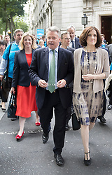 © Licensed to London News Pictures. 07/07/2016. London, UK. (L-R) Penny Mordaunt MP, Tim Loughton MP and Northern Ireland Secretary Theresa Villiers march with other supporters of Conservative leadership candidate Andrea Leadsome  to Parliament. A second round of voting for the leadership of Conservative party is taking place today.  Photo credit: Peter Macdiarmid/LNP