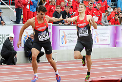 12.07.2015, Kadriorg Stadion, Tallinn, EST, U23 Leichtathletik EM, Tallinn, im Bild Jakob Kremlin (GER) wechselt auf Alexander Gladitz (GER) // Jakob Kremlin (GER) and Alexander Gladitz (GER) competing during the 4x400m Relay U23 Championships at the Kadriorg Stadion in Tallinn, Estland on 2015/07/12. EXPA Pictures &copy; 2015, PhotoCredit: EXPA/ Eibner-Pressefoto/ Fusswinkel<br /> <br /> *****ATTENTION - OUT of GER*****
