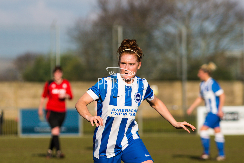 Fliss Gibbons during the FA Women's Sussex Challenge Cup semi-final match between Brighton Ladies and Hassocks Ladies FC at Culver Road, Lancing, United Kingdom on 15 February 2015. Photo by Geoff Penn.