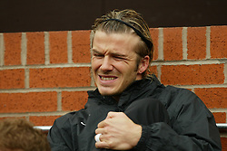 MANCHESTER, ENGLAND - Saturday, April 5, 2003: Manchester United's substitute David Beackham on the bench against Liverpool during the Premiership match at Old Trafford. (Pic by David Rawcliffe/Propaganda)