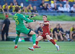 SOUTH BEND, INDIANA, USA - Friday, July 19, 2019: Liverpool's Harry Wilson sees his shot saved by Borussia Dortmund's goalkeeper Marwin Hitz during a friendly match between Liverpool FC and Borussia Dortmund at the Notre Dame Stadium on day four of the club's pre-season tour of America. (Pic by David Rawcliffe/Propaganda)