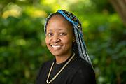 Portrait of Kutlwano Mokgwathi, graduate student in the Women's, Gender, and Sexuality Studies department. Photo by Ben Siegel
