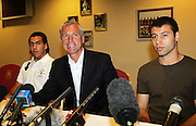 Carlos Tevez and Javier Mascherano with Boss Alan Pardew at their press conference at Upton Park.