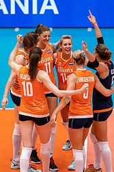 03-08-2019 ITA: FIVB Tokyo Volleyball Qualification 2019 / Netherlands, - Kenya Catania<br /> 3rd match pool F in hall Pala Catania between Netherlands - Kenya. Netherlands win 3-0 / Anne Buijs #11 of Netherlands, Laura Dijkema #14 of Netherlands