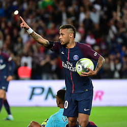 Neymar JR of PSG celebrates his equalising goal during the Ligue 1 match between Paris Saint Germain and Toulouse at Parc des Princes on August 20, 2017 in Paris, . (Photo by Dave Winter/Icon Sport)
