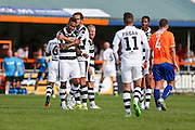 Players celebrate Forest Green Rovers Keanu Marsh-Brown (7)  goal, 0-1 during the Vanarama National League match between Braintree Town and Forest Green Rovers at the Amlin Stadium, Braintree, United Kingdom on 24 September 2016. Photo by Shane Healey.